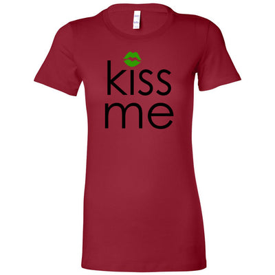 Kiss Me Green Lips Kiss St. Patrick's Day - Bella + Canvas - Women's Short Sleeve Feminine T-shirt - 15 Colors Available Plus Size S-2XL - MADE IN THE USA