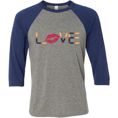 LOVE Lipsense Unisex Three-Quarter Sleeve Baseball T-Shirt - Bella & Canvas - 14 Colors Available Plus Size XS-2XL - MADE IN THE USA