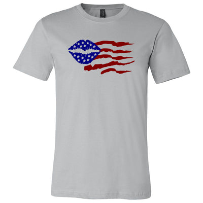 Patriotic SeneBlue Lips Kiss Flag - Bella & Canvas - O-neck Unisex Short Sleeve Jersey Tee -12 Colors Available Plus Size XS-4XL - MADE IN THE USA