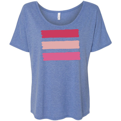 Shades of Pink Stripes - Bella Brand Ladies Slouchy Tee Feminine Women T-shirt - 5 colors available PLUS Size S-2XL MADE IN THE USA