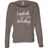 Lipstick & Whiskey - Off the Shoulder Long sleeve Flowy Feminine Wide Neck Tee - Bella Brand Shirt - 7 Colors Available Plus Size XS-2XL - MADE IN THE USA