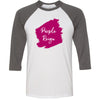 Lipsense PURPLE REIGN Lip Color Lipstick Swipe - Unisex Three-Quarter Sleeve Baseball T-Shirt - Bella & Canvas - 16 Colors Available Plus Size XS-2XL - MADE IN THE USA