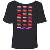A Little Lipstick Always Helps & Lipsense 50 Shades Lip Color Swatches (Front & Back) Bella Brand Ladies Slouchy Tee Feminine Women T-shirt -  7 colors available PLUS Size S-2XL MADE IN THE USA