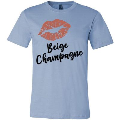 Lipstick Kiss Lips Print - Lipsense: BEIGE CHAMPAGNE - Bella & Canvas - O-neck Unisex Short Sleeve Jersey Tee - 9 Colors Available Plus Size XS-4XL - MADE IN THE USA