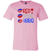 Red Wine & BBQ - American Flag Lip Kiss - Bella & Canvas - O-neck Unisex Short Sleeve Jersey Tee -12 Colors Available Plus Size XS-4XL - MADE IN THE USA