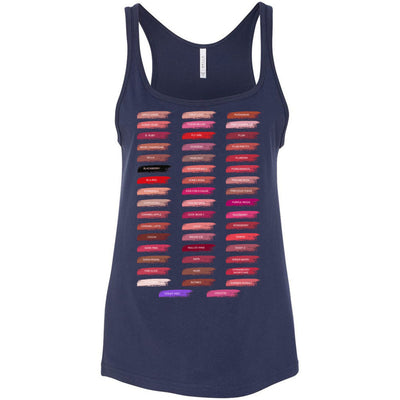 Lipsense 50 Lip Color Swatches - Ladies Relaxed Jersey Tank Top Women - Bella & Canvas - 6 colors available - PLUS Size S-2XL MADE IN THE USA