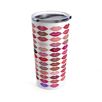 I get paid to wear Lipstick - Lipsense 50 Lip Color Swatches KISSES Stainless Steel Tumbler Travel Mug 20OZ