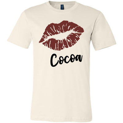 Lipstick Kiss Lips Print - Lipsense: COCOA - Bella & Canvas - O-neck Unisex Short Sleeve Jersey Tee - 8 Colors Available Plus Size XS-4XL - MADE IN THE USA