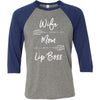 Wife Mom Lip Boss (arrows) Unisex Three-Quarter Sleeve Baseball T-Shirt - Bella & Canvas - 8 Colors Available Plus Size XS-2XL - MADE IN THE USA