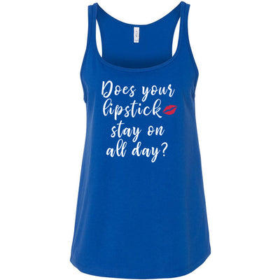 Does your Lipstick stay on all day? Ladies Relaxed Jersey Tank Top Women - Bella & Canvas - 8 colors available - PLUS Size S-2XL MADE IN THE USA