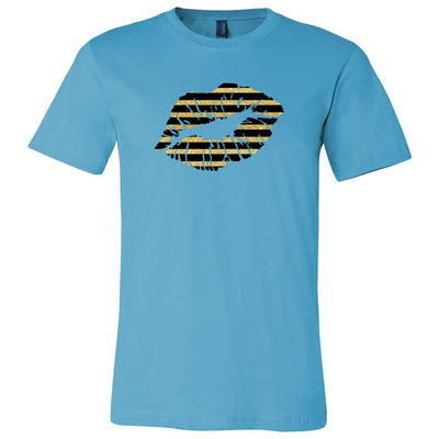 Black & Gold Glitter Striped Lips Lipstick Kiss - Bella & Canvas - o-neck Unisex Short Sleeve Jersey Tee - 12 Colors Available Plus Size XS-4XL - MADE IN THE USA