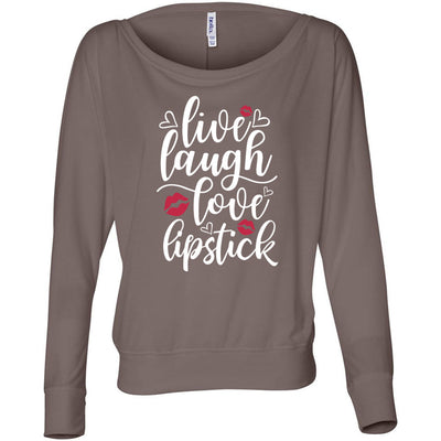 live, laugh, love, lipstick - Off the Shoulder Long sleeve Flowy Feminine Wide Neck Tee - Bella Brand Shirt - 6 Colors Available Plus Size XS-2XL - MADE IN THE USA