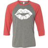 Lipstick Lips Kiss Print (White) - Unisex Three-Quarter Sleeve Baseball T-Shirt - Bella & Canvas - 8 Colors Available Plus Size XS-2XL - MADE IN THE USA
