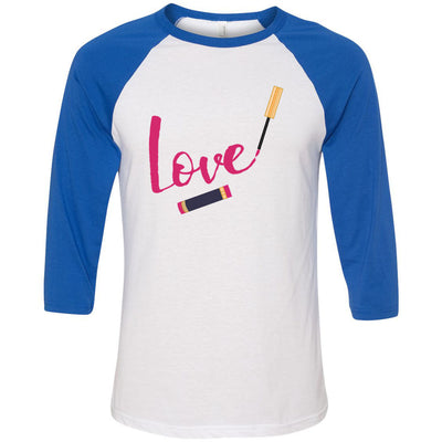 LOVE Lipsense Lipstick Swipe - Unisex Three-Quarter Sleeve Baseball T-Shirt - Bella & Canvas - 16 Colors Available Plus Size XS-2XL - MADE IN THE USA