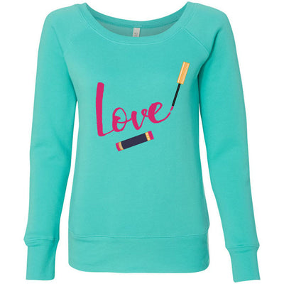 LOVE Lipsense Lipstick Lip Swipe - Bella + Canvas - Women's Long Sleeve Sponge Fleece Wideneck Sweatshirt 7 Colors Available Size S-2XL - MADE IN THE USA