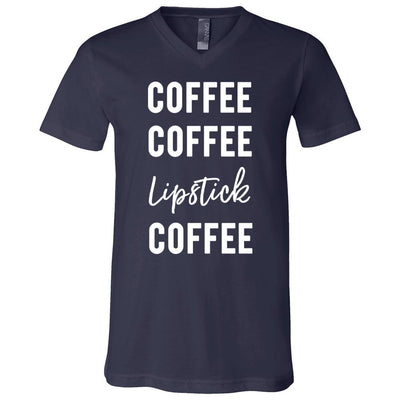 Coffee Coffee Lipstick Coffee - Bella & Canvas Unisex V-neck Jersey T-Shirt - 12 Colors Available Plus Size XS-3XL - MADE IN THE USA