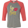 Lipboss GOLD - Unisex Three-Quarter Sleeve Baseball T-Shirt Lip Boss - Bella & Canvas - 16 Colors Available Plus Size XS-2XL - MADE IN THE USA