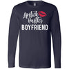 Lipstick Hustler Boyfriend - Long Sleeve Tee Unisex Canvas Brand T-shirt - 6 colors available PLUS Size XS-2XL MADE IN THE USA