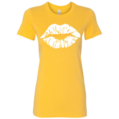 Lipstick Kiss Lips (white) Bella + Canvas - Women's Short Sleeve Feminine T-shirt - 17 Colors Available Plus Size S-2XL - MADE IN THE USA