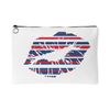 Patriotic Striped Lips Lipstick Kiss - Travel Makeup Accessory Cosmetic Tote or Money Bag Size: Small or Large