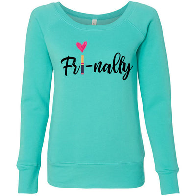 Fri-nally Lipsense - Bella + Canvas - Women's Long Sleeve Sponge Fleece Wideneck Sweatshirt 4 Colors Available Size S-2XL - MADE IN THE USA