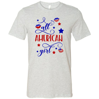 All American Girl - Stars & USA Flag Lip Kisses - Bella & Canvas - O-neck Unisex Short Sleeve Jersey Tee -12 Colors Available Plus Size XS-4XL - MADE IN THE USA