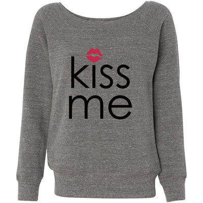 KISS ME red lips - Bella + Canvas - Women's Long Sleeve Sponge Fleece Wideneck Sweatshirt 4 Colors Available Size S-2XL - MADE IN THE USA