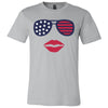 Patriotic Stars & Stripes Sunglasses & Lips - Bella & Canvas - O-neck Unisex Short Sleeve Jersey Tee - 12 Colors Available Plus Size XS-4XL - MADE IN THE USA