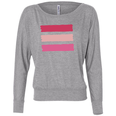 shades of pink stripes - Off the Shoulder Long sleeve Flowy Feminine Wide Neck Tee - Bella Brand Shirt - 7 Colors Available Plus Size XS-2XL - MADE IN THE USA