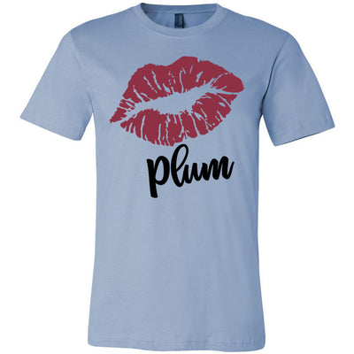 Lipstick Kiss Lips Print - Lipsense: PLUM - Bella & Canvas - O-neck Unisex Short Sleeve Jersey Tee - 8 Colors Available Plus Size XS-4XL - MADE IN THE USA