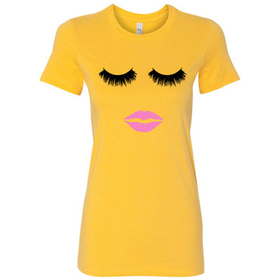 Lips & Lashes - Bella + Canvas - Women's Short Sleeve Feminine T-shirt - 19 Colors Available Plus Size S-2XL - MADE IN THE USA