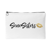 SeneSisters Gold Lips - White Travel Makeup Accessory Cosmetic Tote or Money Bag Size: Small or Large