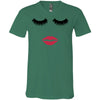 Lips & Lashes (strawberry shortcake) red lipstick kiss - Bella & Canvas Unisex V-neck Jersey T-Shirt - 8 Colors Available Plus Size XS-3XL - MADE IN THE USA