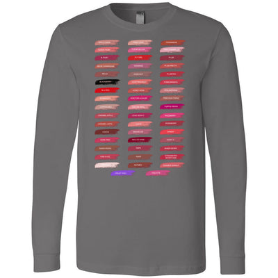 Lipsense 50 Shades Lip Color Swatches Tee - Long Sleeve Tee Unisex Canvas Brand T-shirt - 7 colors available PLUS Size XS-2XL MADE IN THE USA