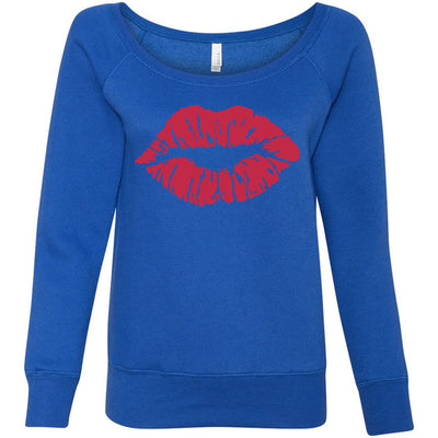 Lipstick Kiss Print Lips (Strawberry Shortcake) - Bella + Canvas - Women's Long Sleeve Sponge Fleece Wideneck Sweatshirt 8 Colors Available Size S-2XL - MADE IN THE USA