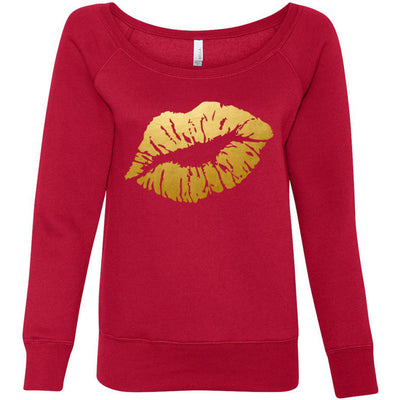 Lipstick Kiss Lips - Gold - Bella + Canvas - Women's Long Sleeve Sponge Fleece Wideneck Sweatshirt 7 Colors Available Size S-2XL - MADE IN THE USA