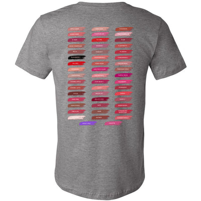 Lips & Lashes (strawberry shortcake) & Lipsense 50 Lip Color Swatches -  (FRONT & BACK) - Bella & Canvas Unisex O-neck Jersey T-Shirt - 12 Colors Available Plus Size XS-4XL - MADE IN THE USA