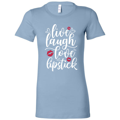 Live, laugh, love, lipstick - (white w/red lips) Bella + Canvas - Women's Short Sleeve Feminine T-shirt - 13 Colors Available Plus Size S-2XL - MADE IN THE USA