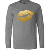 Lipstick Kiss Lips Print Gold - Long Sleeve Tee Unisex Canvas Brand T-shirt - 8 colors available PLUS Size XS-2XL MADE IN THE USA