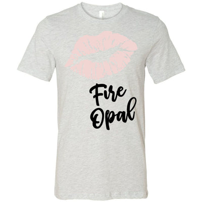 Lipstick Kiss Lips Print - Lipsense: FIRE OPAL - Bella & Canvas - O-neck Unisex Short Sleeve Jersey Tee - 7 Colors Available Plus Size XS-4XL - MADE IN THE USA