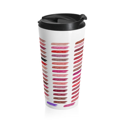 Lipsense 50 Lip Color Swatches Stainless Steel Tumbler Travel Mug 15oz