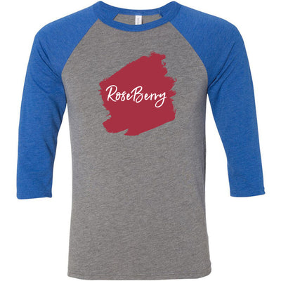 Lipsense ROSEBERRY Lip Color Lipstick Swipe - Unisex Three-Quarter Sleeve Baseball T-Shirt - Bella & Canvas - 16 Colors Available Plus Size XS-2XL - MADE IN THE USA