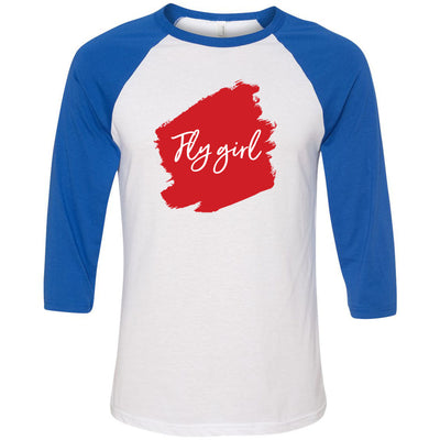 Lipsense FLY GIRL Lip Color Lipstick Swipe - Unisex Three-Quarter Sleeve Baseball T-Shirt - Bella & Canvas - 16 Colors Available Plus Size XS-2XL - MADE IN THE USA