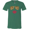 Leopard Sunglasses & Red Lipstick Lips - Bella & Canvas Unisex V-neck Jersey T-Shirt - 12 Colors Available Plus Size XS-3XL - MADE IN THE USA