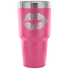 Lipstick Kiss Print Lips -  30 oz Engraved / Etched Stainless Steel Tumbler Travel Mug | Hot or Cold |  7 Colors Available