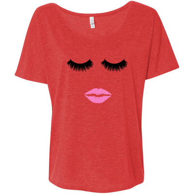Lips & Lashes - Bella Brand Ladies Slouchy Tee Feminine Women T-shirt - 4 colors available PLUS Size S-2XL MADE IN THE USA