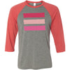 shades of pink stripes - Unisex Three-Quarter Sleeve Baseball T-Shirt - Bella & Canvas - 16 Colors Available Plus Size XS-2XL - MADE IN THE USA