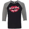 Ask me about my lips lipstick kiss print - Unisex Three-Quarter Sleeve Baseball T-Shirt - Bella & Canvas - 8 Colors Available Plus Size XS-2XL - MADE IN THE USA