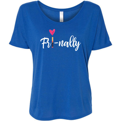 Fri-nally (white) Lipsense Bella Brand Ladies Slouchy Tee Feminine Women T-shirt - 7 colors available PLUS Size S-2XL MADE IN THE USA