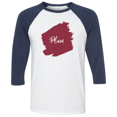 Lipsense PLUM Lip Color Lipstick Swipe - Unisex Three-Quarter Sleeve Baseball T-Shirt - Bella & Canvas - 16 Colors Available Plus Size XS-2XL - MADE IN THE USA